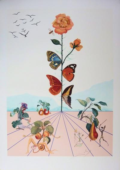 Salvador DALI - Flordali II, The pink butterfly, 1981, original signed lithograph