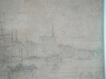 Eugène BOUDIN (1824-1898) - The port of Trouville, Original drawing