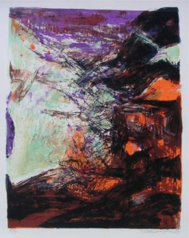 Zao WOU KI - Lithographie 247, 1974, Signed and numbered Lithograph