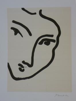 """Henri MATISSE - """"Nadia au visage penché"""", 1948, Lithographie - Art Moderne  - Plazzart"""