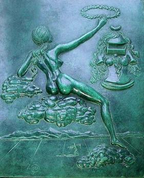 Salvador DALI - Tribute to philosophy, bas-relief in patinated bronze