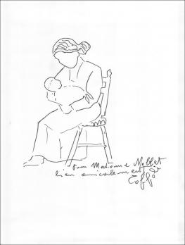 Louis TOFFOLI - La maternité (Motherhood), Signed Felt Tip Pen Drawing