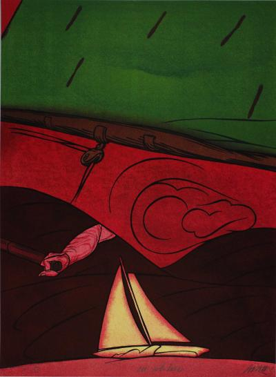 Valerio ADAMI, En solitaire, 1984, Signed lithograph 2