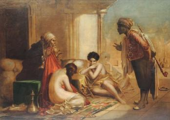 ORIENTALIST SCHOOL - « The purchase of three slaves », Oil on wood pannel