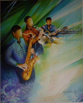 Raymond POULET (born in 1934) - Jazz Trio, Original lithograph 2
