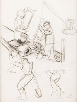 Louis TOFFOLI (1907-1999) - The construction site, charcoal drawing