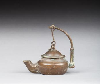 TUNISIA, 19th Century - Bronze Mosque Lamp Complete with Lid