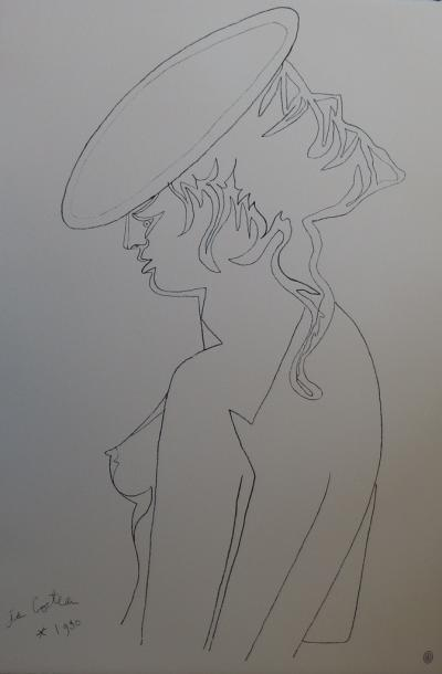 Jean COCTEAU - Woman in profile, lithograph