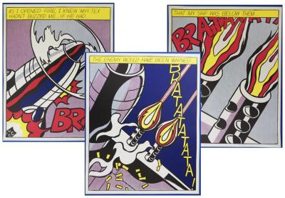 Roy LICHTENSTEIN - 3 sérigraphies - As I opened fire