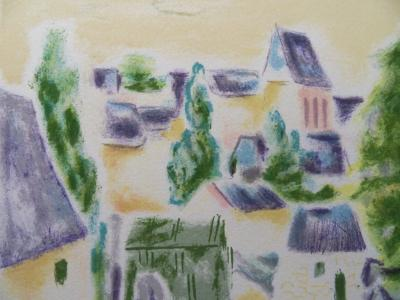 Jules CAVAILLES - Village in Provence, original signed lithograph 2