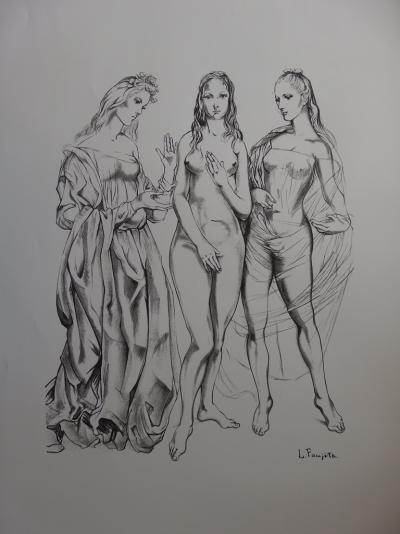 Tsuguharu FOUJITA - Youth, the three graces, 1960, signed lithograph