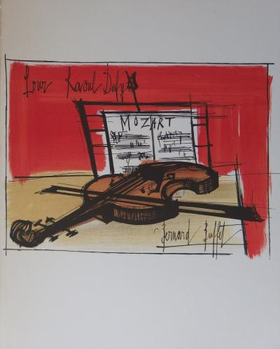 Bernard BUFFET - Still life with violin, signed lithograph