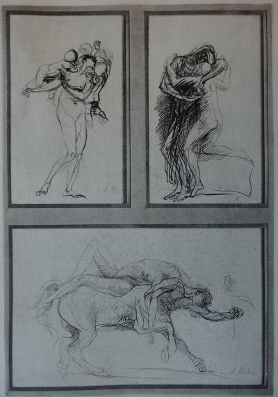 Auguste RODIN (After) - Engraving: Three mythological studies, 1897 print on Vellum paper