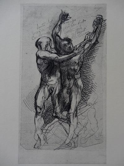 Auguste RODIN (after) - Dante and Virgil, Etching - 1897