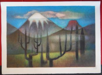 Louis TOFFOLI - Mountains in Mexico, original signed lithograph
