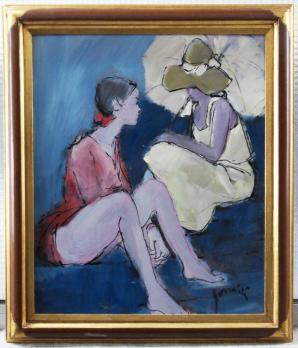 Mario BONAMICI (born 1912) - Two teenagers, signed oil on panel