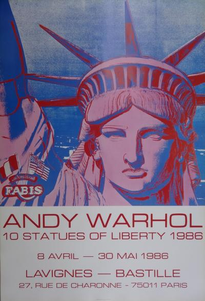 Andy WARHOL - 10 Statues of Liberty, Original poster 1986