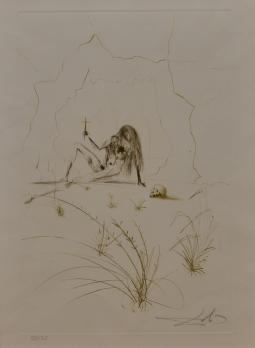 Salvador DALI - Brother Ogrin, the Hermit, Color etching, 1970, from the book