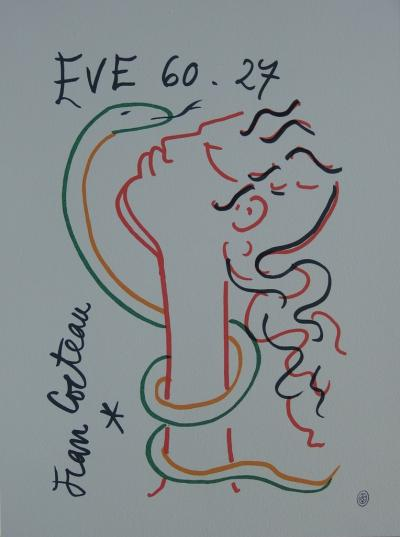 Jean COCTEAU - Eve and the snake, signed lithograph
