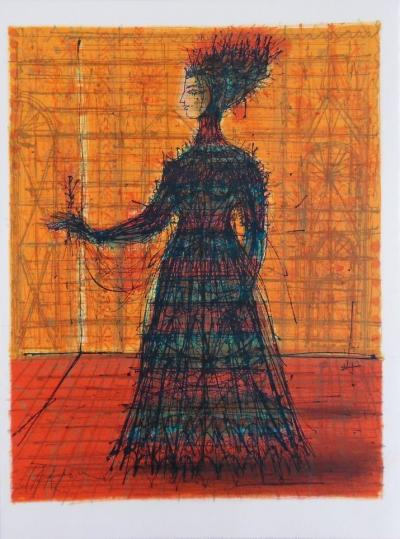 Jean CARZOU - Woman with Rose, signed original lithograph