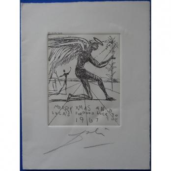 Salvador DALI - Noel, Merry Christmas, Very rare original etching signed