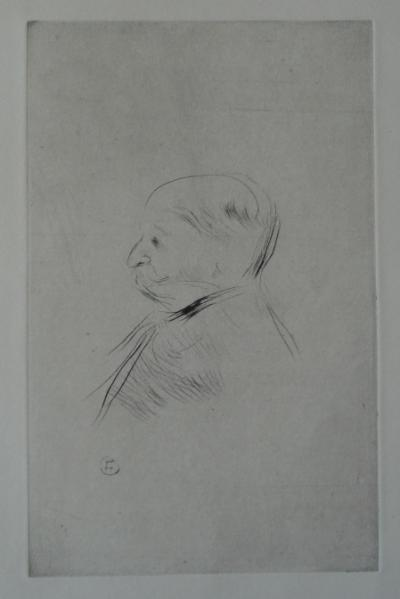 Henri de TOULOUSE LAUTREC : Portrait of Monsieur X - original signed etching