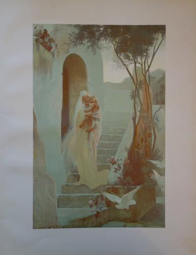 Guillaume Dubufe - The Child, Original signed lithograph (1897)
