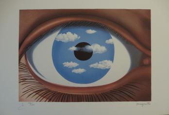 Ren magritte 1898 1967 le faux miroir lithographie for Rene magritte le faux miroir