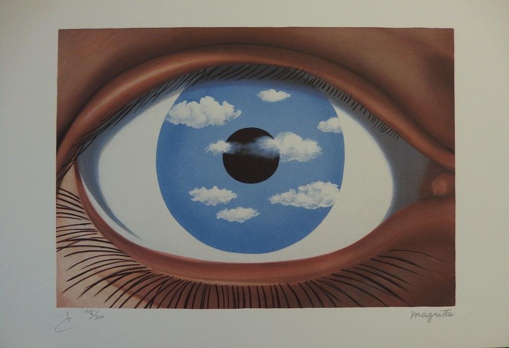 Ren magritte 1898 1967 le faux miroir lithographie for Magritte le faux miroir