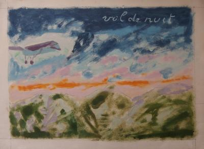 Jules CAVAILLES - Saint Exupéry : Night Flight, signed painting