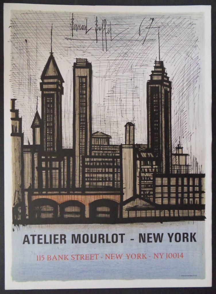 bernard buffet new york 1967 affiche lithographique art moderne. Black Bedroom Furniture Sets. Home Design Ideas