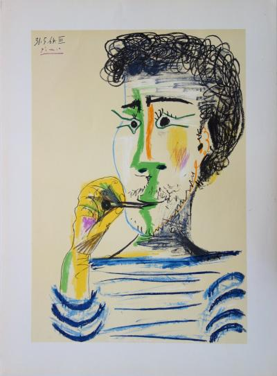 Pablo PICASSO (after) - Man with Marinière and cigarette, signed lithograph