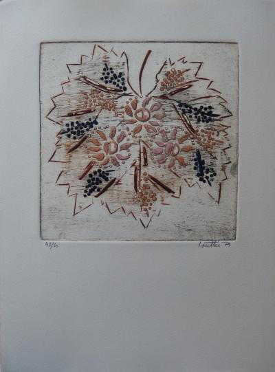 LOUTTRE B (BISSIERE) - Sun, vine, wine, etching and signed original aquatint 2