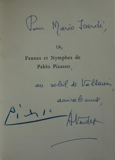 Pablo PICASSO Large autograph dedication On the cover page of the book