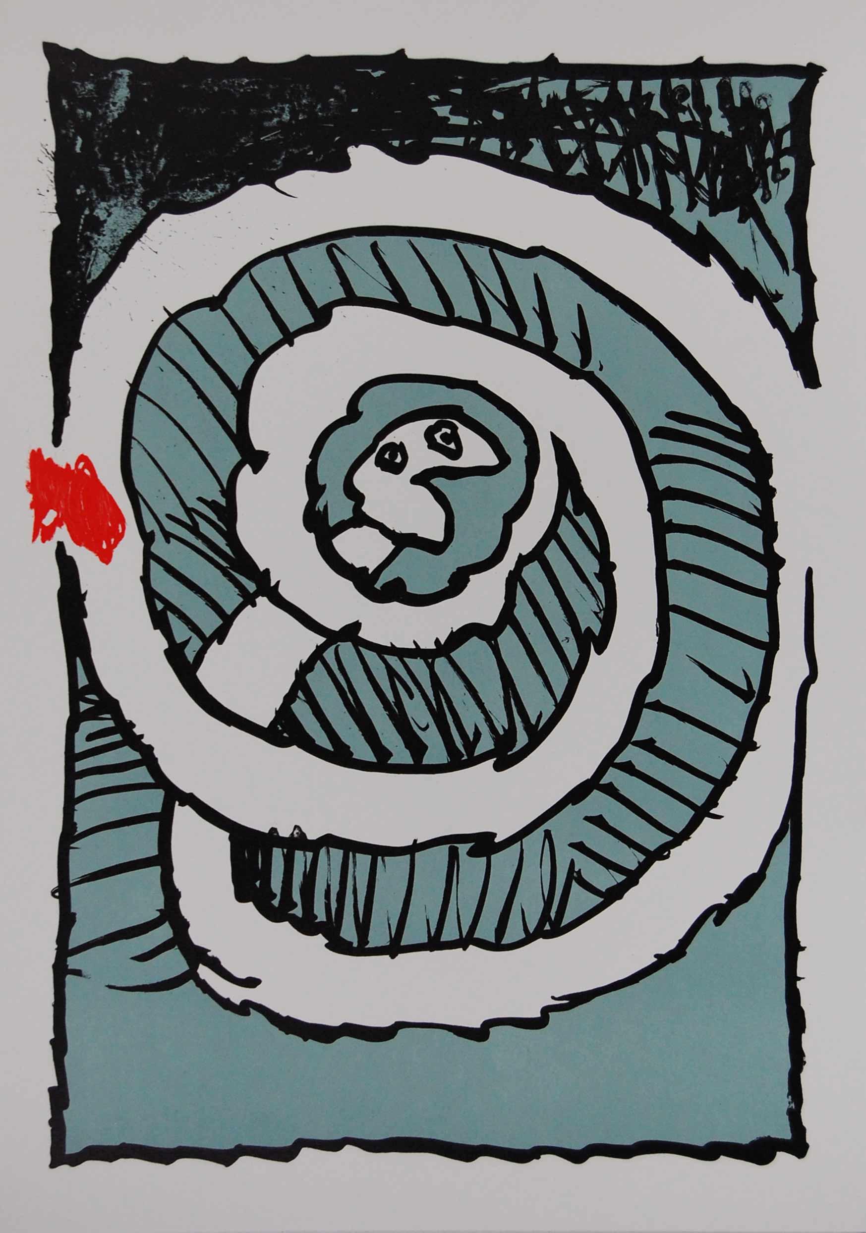 Pierre alechinsky automne en bleu lithographie r alis e for Alechinsky lithographie