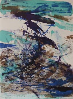 Zao WOU KI - Blue and brown composition, 1967, Signed lithograph