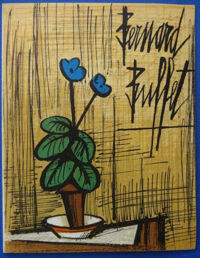 Bernard BUFFET - Small blue primrose, 1980, signed lithograph