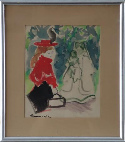 Emilio GRAU SALA - Young blonde woman, original signed watercolour