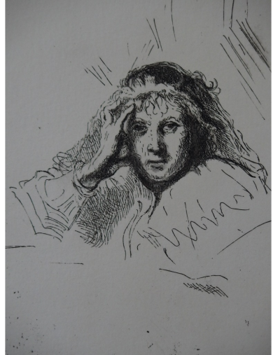 REMBRANDT (after) - Pensive Saskia, engraving created by Gilbert Poillerat, signed