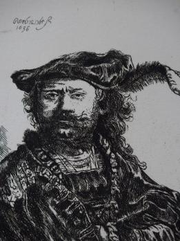 REMBRANDT (after) - Autoportrait with bonnet, engraving created by Gilbert Poillerat, signed