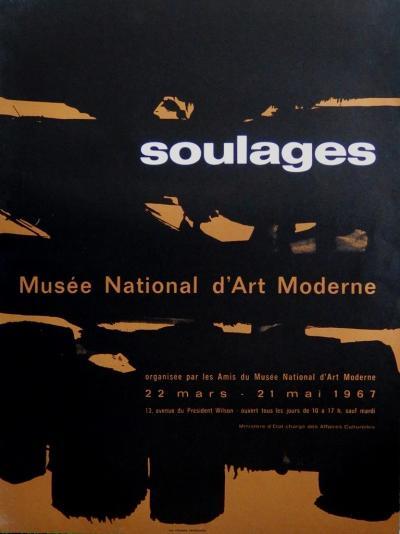 Pierre soulages composition noir et or lithographie for Affiche pierre soulages