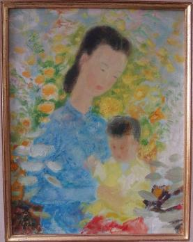 LE PHO - Maternity, Oil on canvas Signed