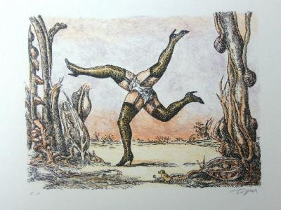 Roland TOPOR - The four legs, Original lithograph handsigned and numbered 2
