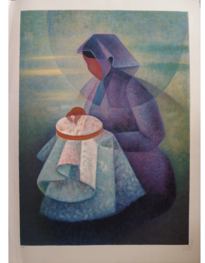 Louis Toffoli (1907-1999) - The embroiderer, original lithograph