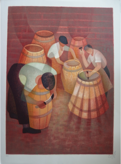Louis TOFFOLI - The barrel-makers, original signed lithograph