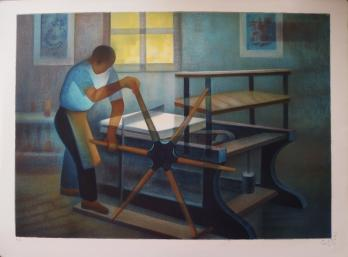 Louis TOFFOLI - The hand press - original signed lithograph