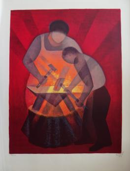 Louis TOFFOLI - The apprentice blacksmith, original signed lithograph