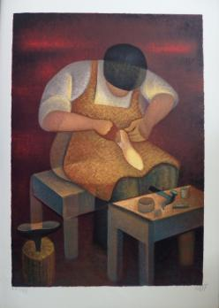 Louis TOFFOLI - Noble profession: the shoemaker, original signed lithograph