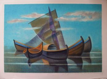Louis TOFFOLI - Blue boats, original signed lithograph