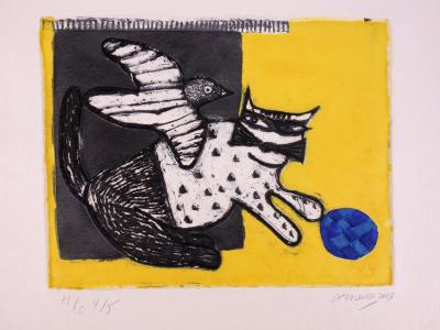 Guillaume CORNEILLE (1922-2010) - Cat with ball of wool, 2003, original aquatint